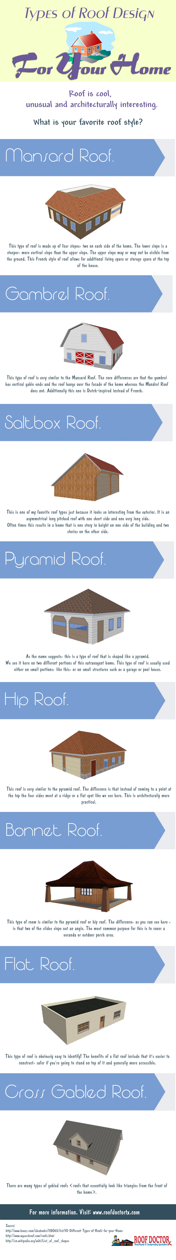 Types Of Roof Design For Your Home Infographic Roof