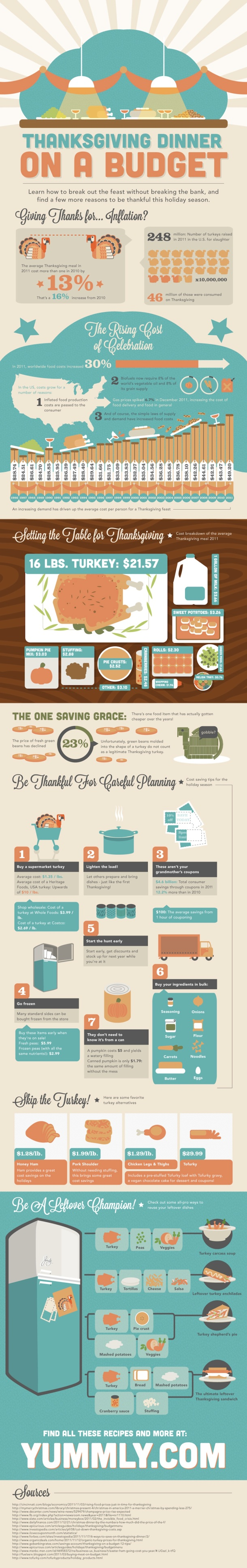 Thanksgiving Dinner on a Budget Infographic